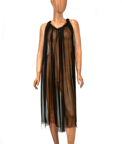 Sheer Black Dress with Raw Hem