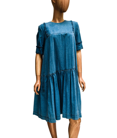 Short Sleeve Chambray Dress with Star Accents
