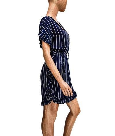Short Sleeve Ruffle Dress with Waist Tie