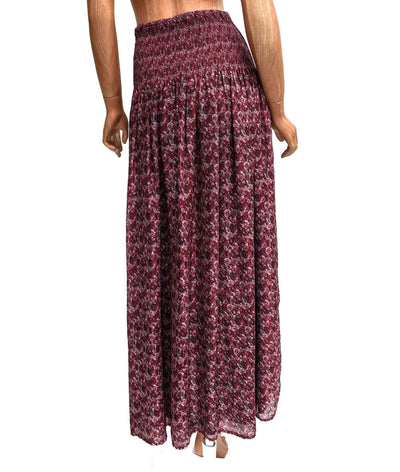 Silk Maxi Skirt with Elastic Waistline