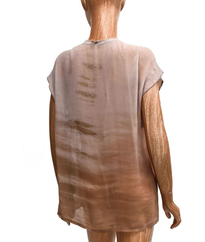 Silk Semi-Sheer Scoop Neck Top