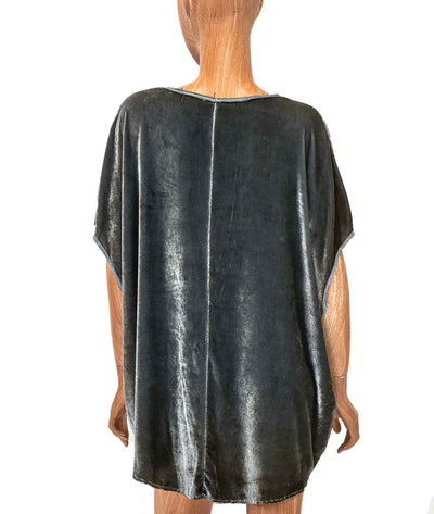 Velvet Scoop Neck Top with Raw Hem