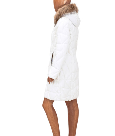White Down Parka with Fur Trim Hood