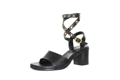 The Lula Leather Cube Heel Sandal with Stud Details