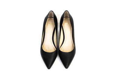 Black Block Heel Pointed-Toe Pumps