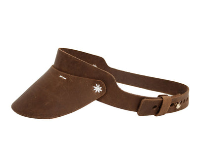 Cambria Leather Visor with Flower Stitching