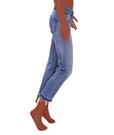 Mid-rise Cropped Straight Leg with Frayed Hem