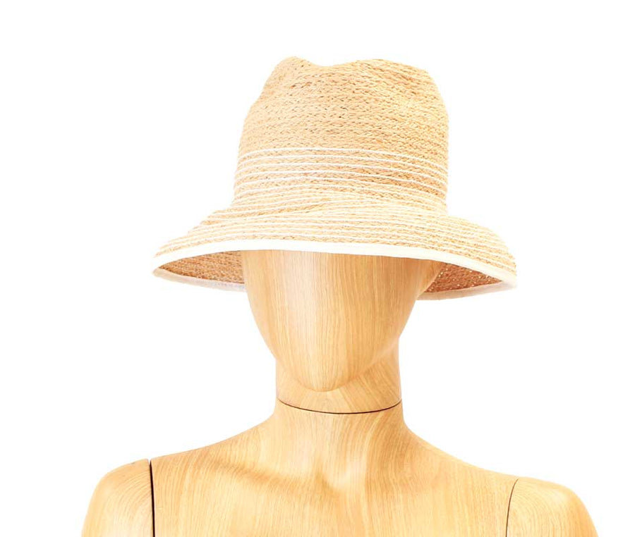 Striped Straw Bucket Hat