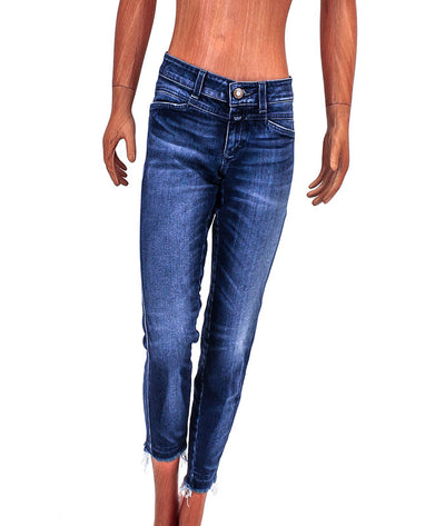 Slim Fit Cropped Jeans with Frayed Hem