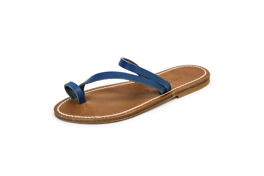 "Leather ""Septine"" Slide On Sandals"