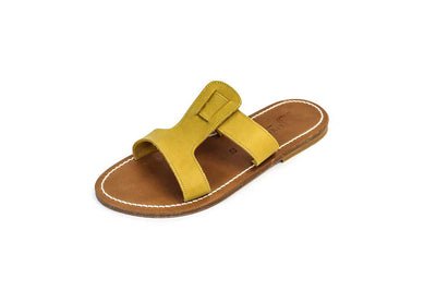 "Leather ""RHEA"" Slide On Sandals"