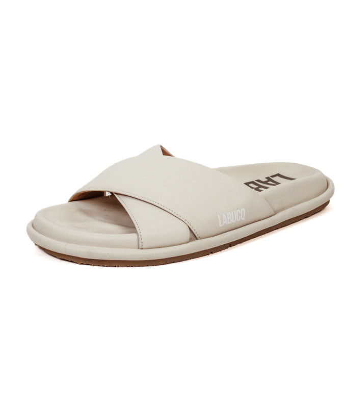 Mo Slide in Ivory Nappa Leather
