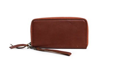 Tan Leather Continental Zip Around Wallet