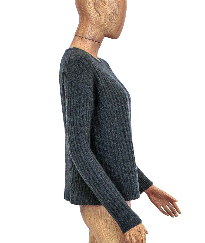 Distressed Ribbed Cashmere Sweater