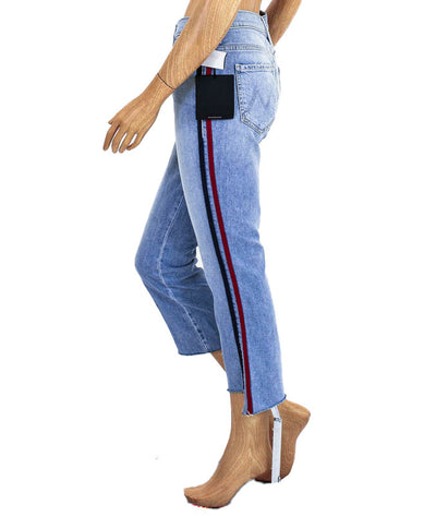 """The Insider Crop Step Fray"" Racer Stripe Jean"