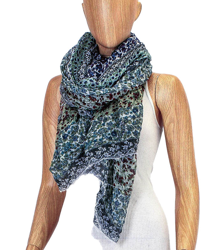 Printed Fringe Trim Rectangle Scarf