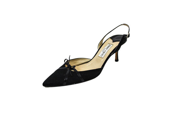 Satin Sling Back Pumps with Leather Trim