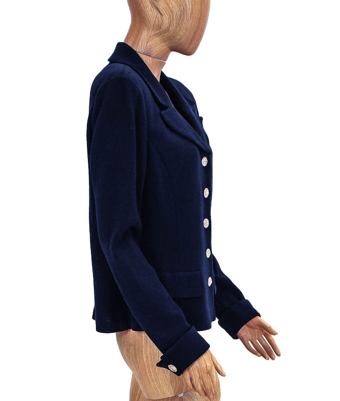 Embellished Button Navy Blazer
