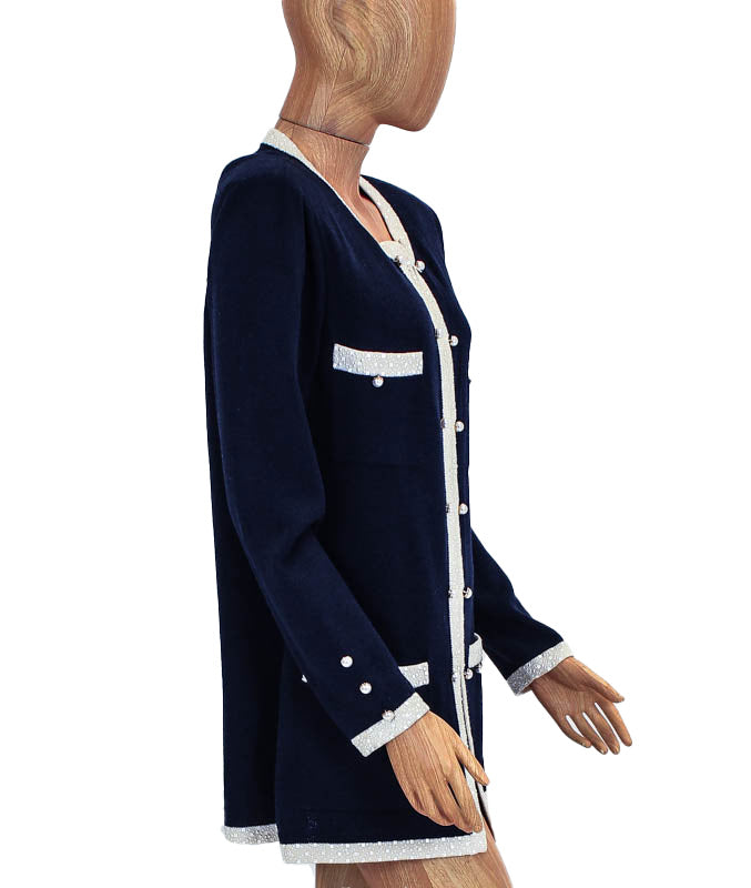 Navy Coat with Faux Pearl Buttons