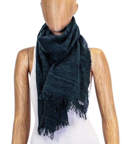 Forest Green Fringe Trim Rectangle Scarf