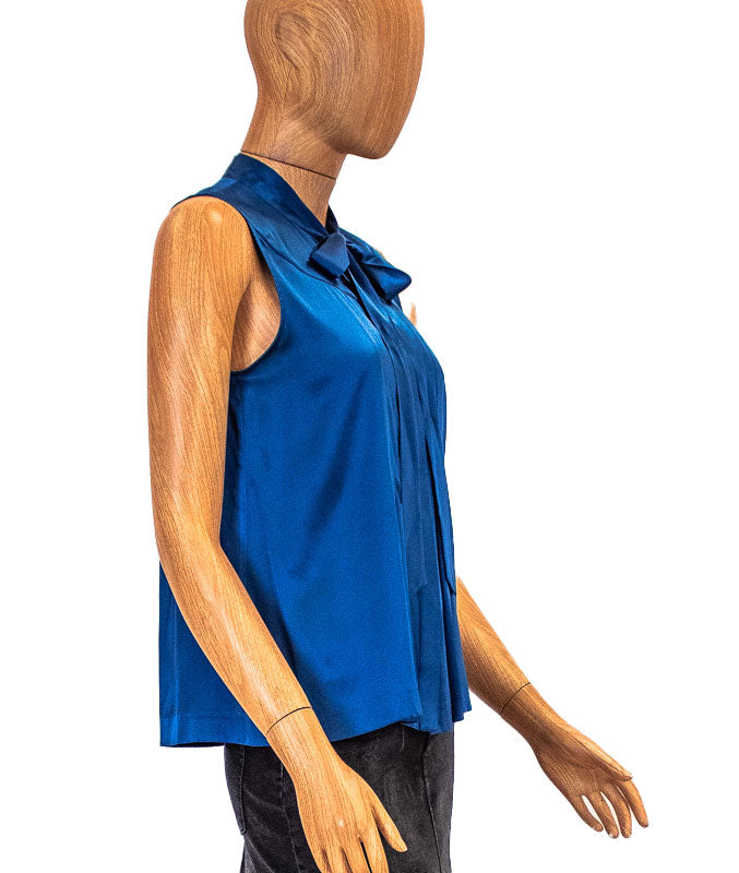 Blue Pleated Sleeveless Blouse