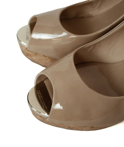 Neutral Patent Leather Slingback Wedges