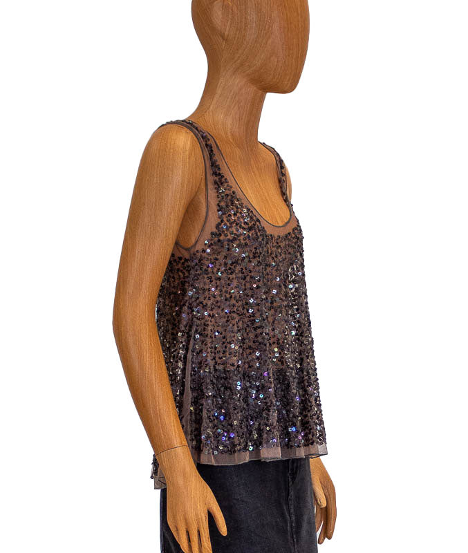 Sequins Sleeveless Blouse
