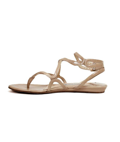 Tan Patent Leather Sandals
