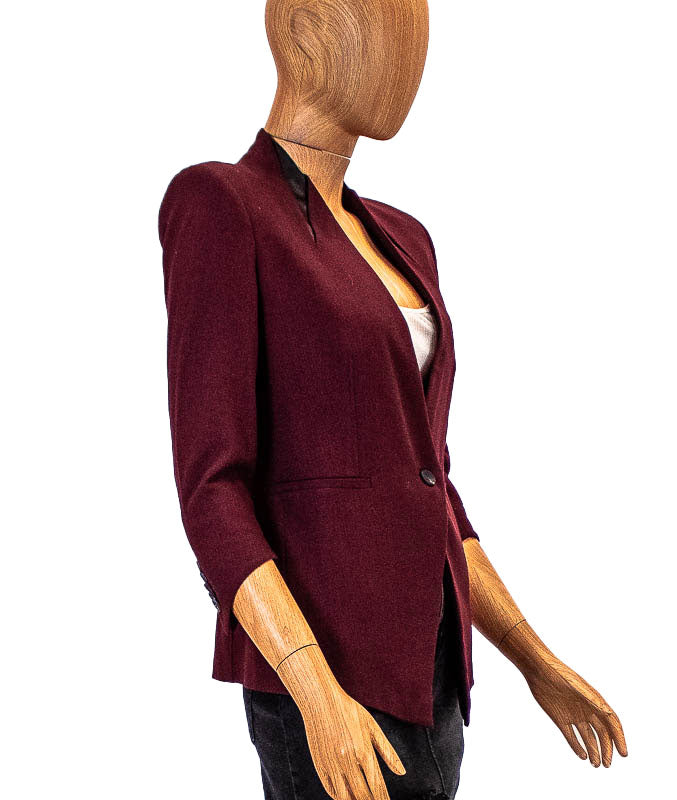 Burgundy Cropped Blazer