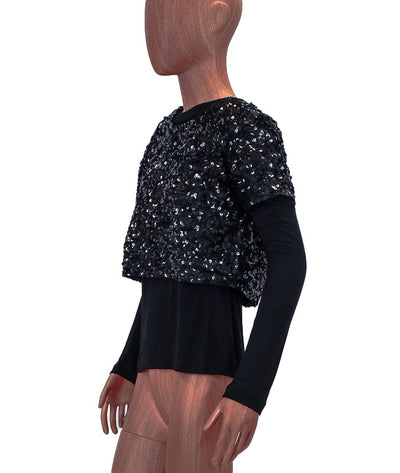 Long Sleeve Top with Sequin Shell