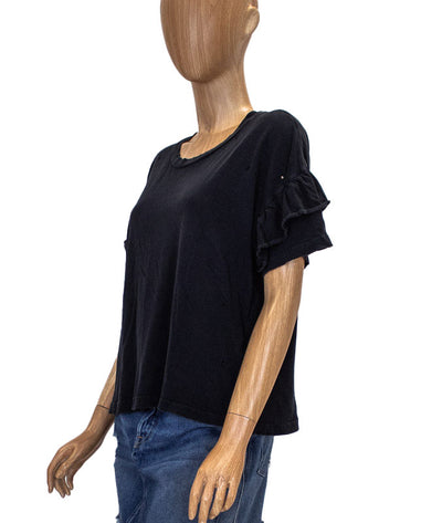 Ruffle Roadie Tee in Washed Black