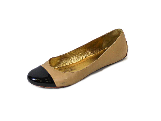 """Tabitha"" Flat with Patent Cap Toe"