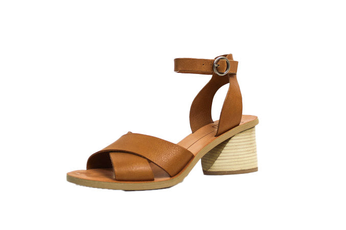 Tan Leather Mid-Heel Sandals