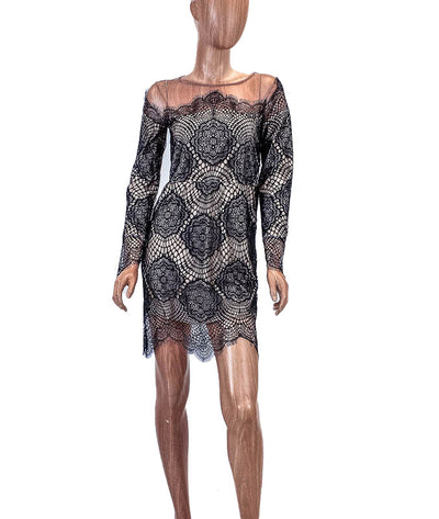 Lace Dress with Nude Underlay
