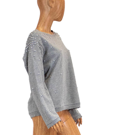 Pearl Studded Distressed Sweatshirt