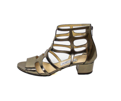 Low-Heel Metallic Gladiator Sandals