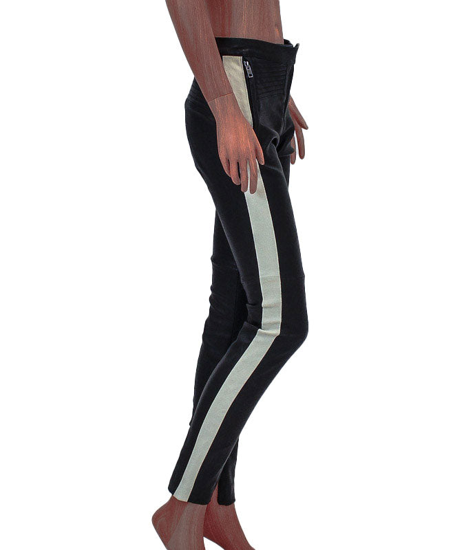 Mid-Rise Moto Racer Stripe Leather Pants