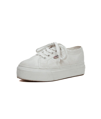 Superga White Canvas Platform Sneakers