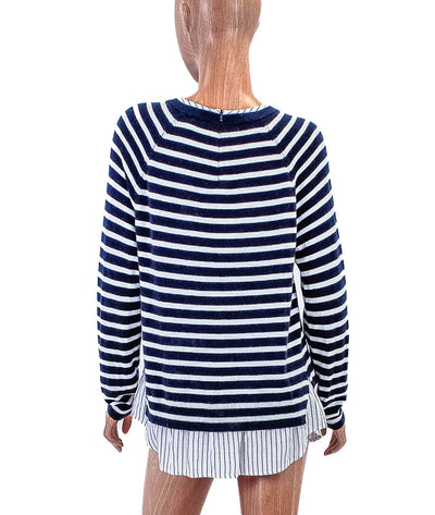 Stripe Sweater with Dress Shirt Trim