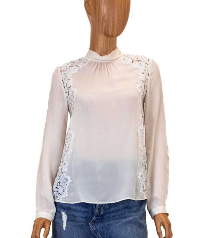 Cream High Neck Blouse with Lace Detailing