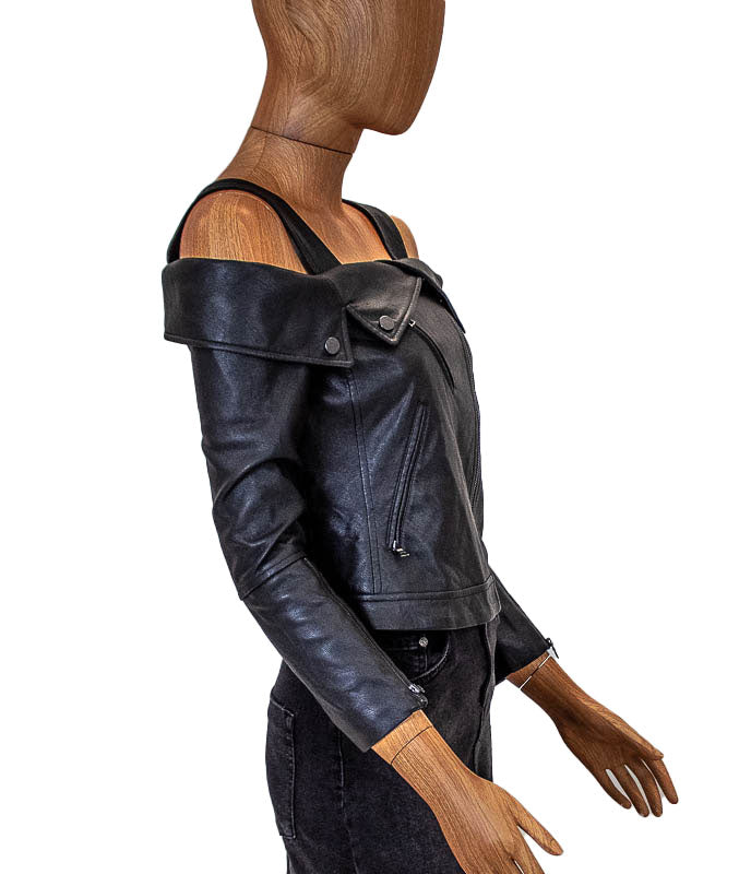 "Leather ""Clyde"" Moto Top"