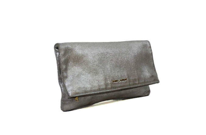 Large Metallic Fold Over Clutch