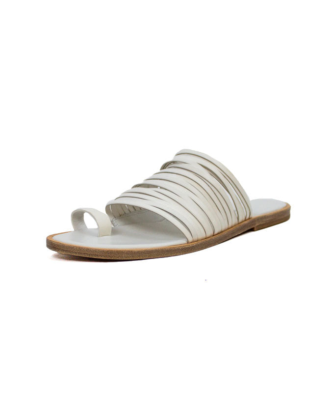 White Leather Strap Slide On Sandals