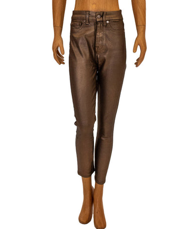 Metallic Gold High-Rise Skinny Jeans
