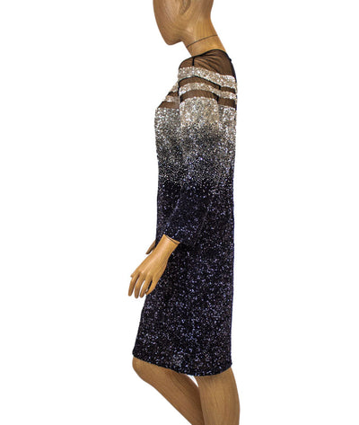 Ombre Sequin Embroidered Cocktail Dress