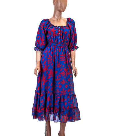 Printed Midi Dress with Balloon Sleeves