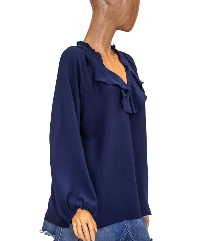 Ruffled Neckline Blouse