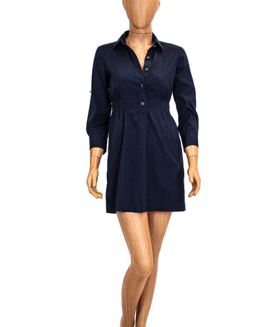 Navy Oxford Button-Up Dress