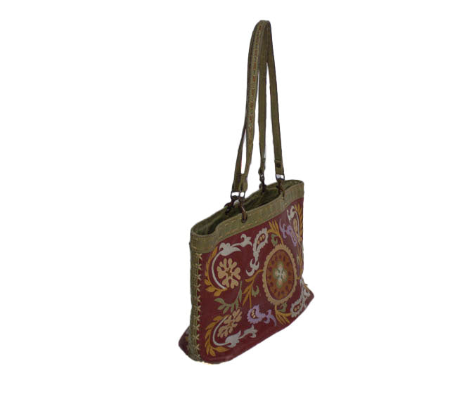 Embroidered Leather Shoulder Bag