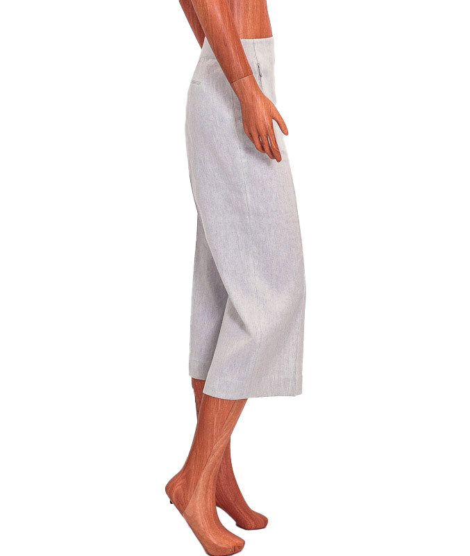 Cropped Straight Leg Linen Trousers